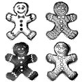 Hand drawn gingerbread man sketch of holiday cookie in doodle style qualitative vector eps illustration for new years day Royalty Free Stock Photography