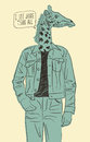 Hand drawn giraffe-man. Vector illustration
