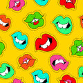 Hand drawn girl mouth patch icon seamless pattern Royalty Free Stock Photo
