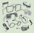 Hand drawn glasses doodles Royalty Free Stock Photo