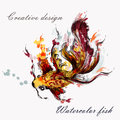 Hand drawn goldfish in watercolor style from ink spots Royalty Free Stock Photo