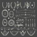 Hand drawn graphic set. Wedding set of arrows, laurel, wreaths,