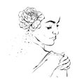 Hand drawn graphic vector ink brush painted textured woman feminine figure with flower in hair illustration isolated on