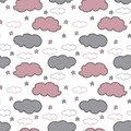 Hand drawn gray and pink clouds and stars on white background.