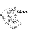 Hand drawn of Greece map, illustration