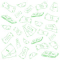 Hand Drawn Green Banknotes. Doodle Money Rain. Scribble Drawings of Cash Royalty Free Stock Photo