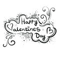 Hand-drawn greeting card, banner Happy Valentine`s Day. Inscription in the cloud, style of Doodle.