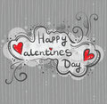 Hand-drawn greeting card, banner Happy Valentine`s Day. Inscription in the cloud, style of Doodle. Striped background