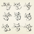 Hand drawn grumpy cats icons collection Royalty Free Stock Images