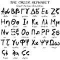 Hand drawn grunge greek alphabet Royalty Free Stock Photo