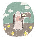 Hand drawn grunge illustration of cute vulture on background wit with flowers and clouds is in eps mode Royalty Free Stock Images