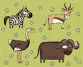 Hand drawn grunge illustration set of zebra, antelope, ostrich a Royalty Free Stock Photo