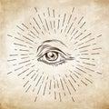 Hand-drawn grunge sketch Eye of Providence. Masonic symbol. All seeing eye. New World Order. Conspiracy theory. Alchemy, religion, Royalty Free Stock Photo
