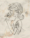 Hand drawn grunge spring girl illustration Stock Image