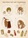 Hand drawn hair care illustrations Royalty Free Stock Photo