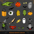 Hand drawn halloween doodles collection set eps Royalty Free Stock Images