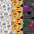 Hand drawn with halloween pattern background set.