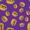 Hand drawn hamburgers fast food seamless pattern.