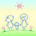 Hand drawn happy family illustration background Stock Photography