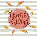 Hand drawn Happy Thanksgiving lettering typography poster.