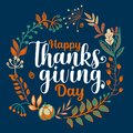 Hand drawn Happy Thanksgiving typography in autumn wreath banner. Celebration text with berries and leaves for postcard