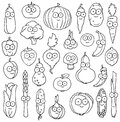 Hand drawn happy vegetable characters Royalty Free Stock Photo