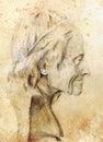 Hand drawn head, Illustration half face. Gypsum bust drawn in pencil. Profile portrait. Royalty Free Stock Photo