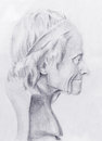 Hand drawn head, Illustration half face. Gypsum bust drawn in pencil. Profile portrait. Royalty Free Stock Photo