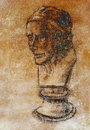 Hand drawn head, Illustration half face. Gypsum bust drawn in pencil. Profile portrait. Bust of Voltaire by Houdon. Royalty Free Stock Photo