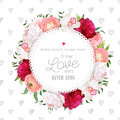 Hand drawn heart pattern with floral vector design round card.