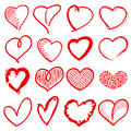 Hand drawn heart shapes, romance love doodle vector signs for holiday decor