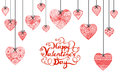 Hand drawn heart and typographic Happy Valentines day for banner, card and other decorations