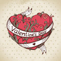 Hand drawn heart and vintage background valentines day card Royalty Free Stock Images