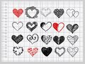 Hand-drawn hearts Stock Photo