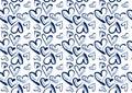 Hand drawn hearts in blue denim