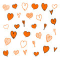 Hand drawn hearts. Design elements for Valentine`s day