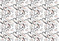 Hand drawn hearts in pink and dark grey