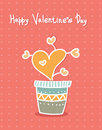 Hand drawn hearts in pot. Cartoon style. Greeting cards
