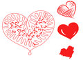 Hand drawn hearts red illustration Stock Images