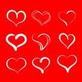 Hand drawn hearts. Set of vector grunge hearts icons. Royalty Free Stock Photo