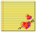 Hand drawn hearts on yellow note paper Royalty Free Stock Images