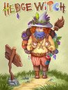 stock image of  Hand drawn hedgewitch illustration. Green cute backpacker witch concept children image