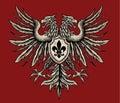 Hand drawn heraldic eagle vector illustration Royalty Free Stock Image
