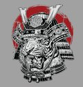 Hand drawn highly detailed Japanese tiger samurai vector illustration on grey ground