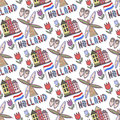 Hand drawn Holland seamless pattern with windmill and house. Netherlands background for design. Vector illustration. Royalty Free Stock Photo