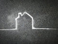 Hand drawn house on a chalkboard blackboard Royalty Free Stock Image