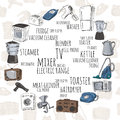 Hand drawn household appliances Royalty Free Stock Photo