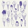 Hand- drawn Ice cream vector drawings set