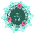 Hand drawn icons baby girl, baby frame with palm Royalty Free Stock Photo