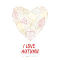 Hand drawn illustration. Background heart of autumn leaves. I love autumn. Royalty Free Stock Photo